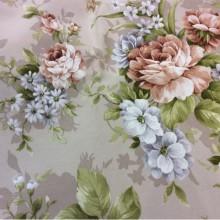 Ткань для штор Kamil A Brown 32. Цветочный принт.