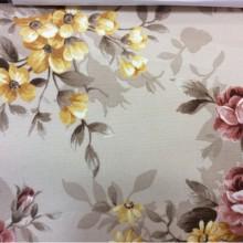 Ткань для штор Kamil A Terrecotta 12 с цветочным орнаментом. Принт