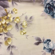 Элитная ткань для штор Kamil Devore Blue 20. Испания цветочный принт