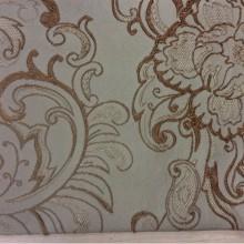 Хлопковая турецкая ткань для штор Rosetta 2. На бледно-зелёном фоне коричневый орнамент