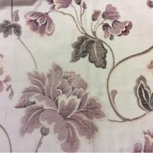 Портьерная ткань из вискозы Urla 1. Ткань на покрывало на кремовом фоне розовый орнамент