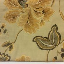 Вискоза, ткань для штор Urla 2. На бежевом фоне жёлтый орнамент. Турция