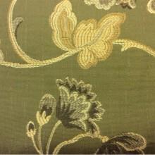 Портьерная ткань из вискозы Urla 27501. Турция, На оливковом фоне желто-зелёный орнамент