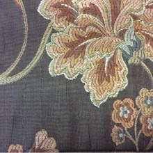 Портьерная ткань из вискозы Urla 3. На буром фоне терракотовый орнамент