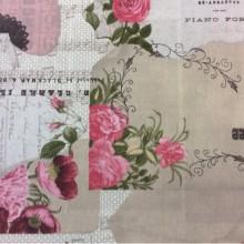 Хлопковая ткань для штор Tyler соl 4. Испания. Бежевый фон, розовые цветы