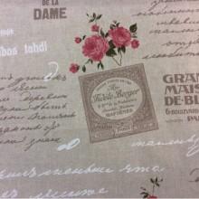 Хлопковая портьерная ткань Prince col 4. Испания, бежевый фон розовые цветы