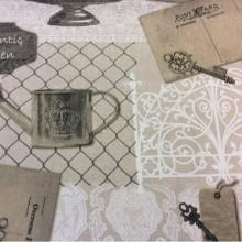 Красивая хлопковая ткань под старину Canario col 4. Испания, бежевый фон серый орнамент