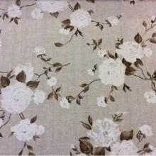 Ткань с цветами Dara col 17. Испания, бежевый фон, белые цветы