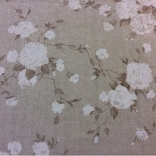 Ткань с цветами в стиле прованс Dara col 18. Испания, серый фон, белые цветы