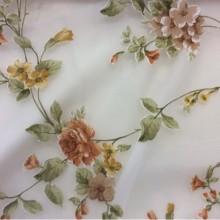 Вискоза, испанская ткань для штор Provance devore col 1. Фон прозрачный, терракотовые цветы