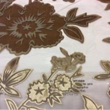 Итальянская ткань из хлопка Fiore 030. На бордовом фоне коричневые цветы ( набивка)
