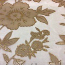 Хлопковая ткань с цветочным рисунком Fiore col 020. Италия, На прозрачном фоне золотистые цветы ( набивка)