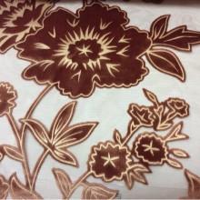 Итальянская ткань из хлопка Fiore col 080. На бордовом фоне терракотовые цветы