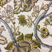 Яркая хлопковая ткань из Испании 2435/90.  На белом фоне орнамент серого, болотного оттенка