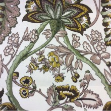 Хлопковая портьерная ткань в стиле пейсли 2435/57. Испания, На светлом фоне коричневый, горчичный оттенки