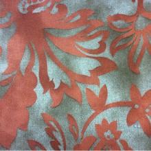 Хлопковая ткань с красным орнаментом 2436/38. Испания. На сером фоне красный орнамент