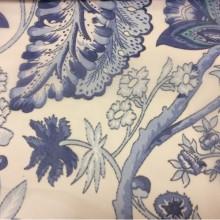 Микровуаль для штор 2441/74. Испания, На прозрачном фоне синие цветы