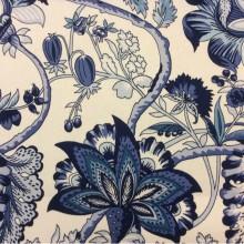 Портьерная ткань из хлопка 2435/74. Испания, Белый фон, синие цветы