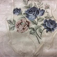 Плотная портьерная ткань жаккард Rubens 206. Турция, атлас, На светлом фоне цветы ( жатая фактура ткани)