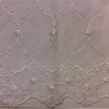 Прозрачная французская сетка ткань с вышивкой Anamur 2. Турция, ванильного цвета