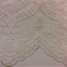Красивая тюль французская сетка с вышивкой Sandra 2. Турция, ванильного цвета