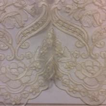 Французская сетка с вышивкой Sandra 3. Турецкая ткань для штор кремового цвета.