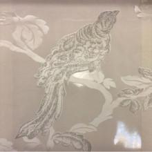 Итальянский тюль из органзы в стиле барокко Botticelli 29. Италия, Европа, тонкий тюль. На прозрачном фоне тёмно-серебристая птица с блеском