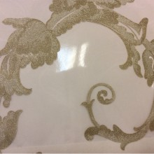 Красивая итальянская ткань на заказ Botticelli 08. Европа, Италия, тюлевая ткань в стиле барокко. На прозрачном фоне золотистый принт с блеском