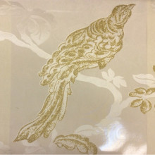 Ткань барокко из Италии Botticelli 21. Европа, Италия, тонкая тюль. На прозрачном фоне золотая птица с блеском