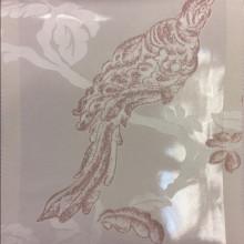 Красивый тюль в стиле барокко Botticelli 24. Европа, Италия, тонкий тюль. На прозрачном фоне розовато-сиреневая птица с блеском