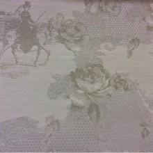 Портьерная ткань 2330/11. Хлопок, гобелен в стиле жуи, прованс. Испания. Серый с бледно-оливковым орнамент
