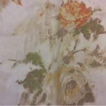 Тюль из органзы Rose Orange. Турция, акварель. Розы, жёлтый, терракотовый