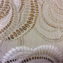 Плотная портьерная ткань из вискозы Gia 2. Оливковые с бронзой розы ( абстракция) в стиле арт-нуво.