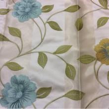 Красивая ткань с вышивкой тафта в стиле прованс 2024/21. Европа, Германия. Светлый фон, голубые и жёлтые цветы в стиле кантри, прованс