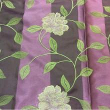 Портьерная ткань тафта с вышивкой 2024/42. Европа, Германия. Фиолетовый фон, золотисто-сиреневые цветы в стиле кантри, прованс