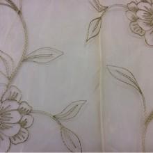 Органзя, Германия, стиль ткани кантри и прованс 2030/51. Золотистый фон, бронзовые цветы. Тонкая тюль