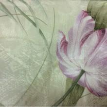 Ткань с тюльпанами Tulupani 37. Турция, хлопок, атлас, полиэстер. На салатовом фоне сиреневые тюльпаны