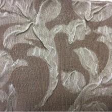 Портьерная жатая ткань цвета какао Sisley 1. Турция, атлас, полиэстер, стиль ткани арт-нуво. На фоне цвета какао серебристые завитки