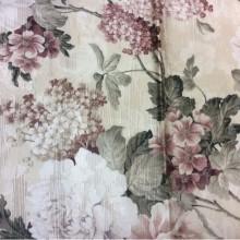 Атлас, хлопковая портьерная ткань Paradise 1034. Турция, полиэстер. На золотистом фоне бордовые цветы