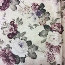Портьерная ткань из атласа Raya 1001. Турция, 100% полиэстер. На кремовом фоне бордовые цветы