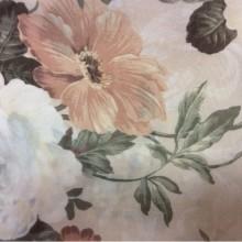 Креп для штор Raya Suit 1008. Турция, полиэстер, тюлевая ткань. На кремовом фоне персиковые, голубые цветы