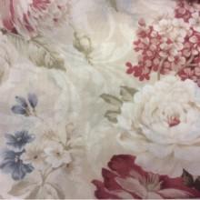 Креп тюлевый Raya Suit 1109. Турция, полиэстер, тонкий тюль для штор. На кремовом фоне голубые, бордовые цветы