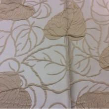 Классическая ткань для штор G02192 V.008. Европа, Англия, атлас, вискоза, портьерная. На кремовом фоне бежевые листья