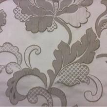 Красивая ткань с вышивкой Olbia, цвет Grain. Европа, Бельгия, портьерная ткань для занавесок. На светлом фоне серые цветы