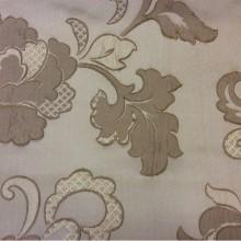 Классическая ткань для штор с вышивкой Olbia, цвет Cappuccino. Бельгия, Европа. На бежевом фоне бронзовые цветы