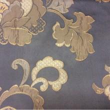 Бельгийская портьерная ткань для штор с вышивкой Olbia, цвет Magnetic. Европа, Бельгия, портьерная. На синем фоне бежевые цветы