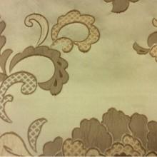 Атласная ткань для штор с вышивкой Olbia, цвет Feather Green. Европа, Бельгия. На оливковом фоне бронзовые цветы в стиле арт-нуво