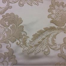 Красивая ткань на заказ с вышивкой Varese, цвет Grain. Бельгия, Европа. На светлом фоне бежевые цветы, пейсли
