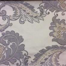 Шикарная ткань для штор с вышивкой Varese, цвет Silver. Европа, Бельгия, портьерная в стиле ар-нуво. На бежевом фоне серо-голубые цветы, пейсли