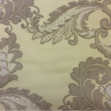 Красивая ткань в стиле арт-нуво с вышивкой Varese, цвет Light Gold. Европа, Бельгия, портьерная ткань для штор. На золотистом фоне бежевые цветы, пейсли